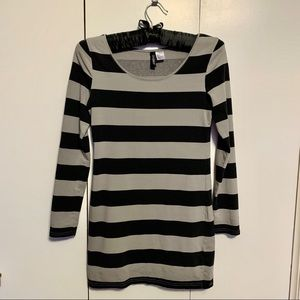 H&M form fitting, long sleeve, striped mini dress